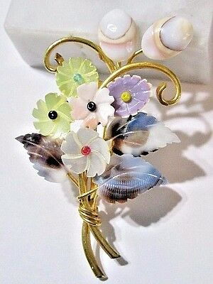 Mother Of Pearl And Seashell Vintage Pin Bouquet Of Flowers Floral Pastel Color