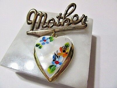 Pretty Mother Pin Mother Of Pearl Painted Locket Brass Vintage Ny Souvenir