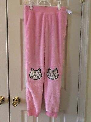 NWOT Justice Fuzzy Plush Cat Lounge Pajama Pants Pink Girls sz 12 *outlet*