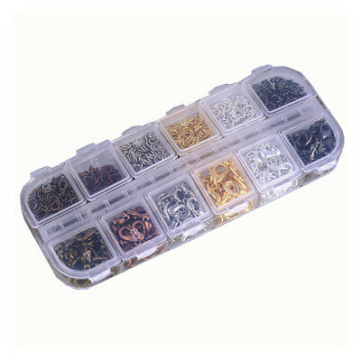 10 Grids Gold Bronze Jewelry Findings Kit Lobster Drop Clasp Open Jump Rings