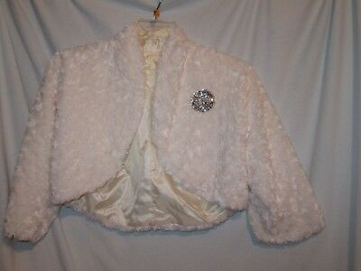 Faux Fur Short Jacket, Shrug, Bolero, Wedding, Formal, Off - White, size 8/10