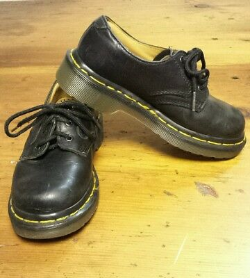 Child Youth Dr. Doc Martens Lace up Black Shoes Sz. 12 Made in England