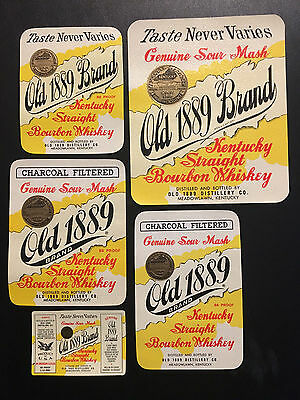 Original Lot of Five Old 1889 Brand Bourbon Whiskey Labels – Kentucky