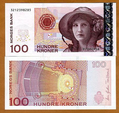 Norway, 100 Kroner, 2006, P-49 (49c), UNC > Woman in a hat