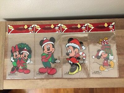 Lot of 4 BIG Disney Mickey Minnie Mouse Christmas Window Clings Decorations