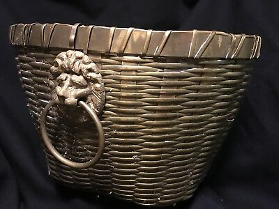 Vintage Brass Lion Head Detail Planter, Woven Brass Basket with Lion Handles