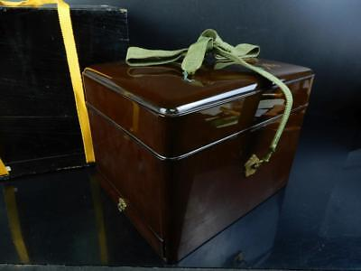 J5625: Japanese Wooden Lacquer ware CONTAINER Accessories Case Box w/box