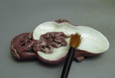 Chinese Porcelain Carved Pinaster Shape Inkwell / Brush Washer