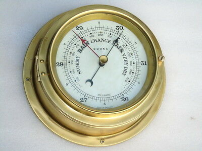 Vintage All Brass Cooke Hull England Ships Yacht Marine Weather Barometer