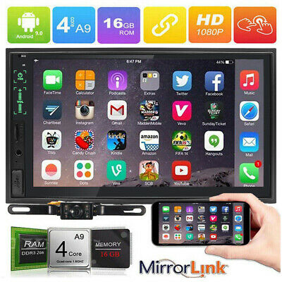 """GPS Navi Map WiFi Double 2Din 10.1"""" Smart Android 9.0 Car Stereo Radio Bluetooth"""