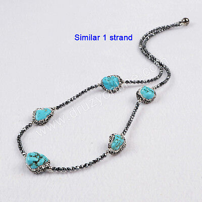 1 Strand Five Howlite Turquoise Beads Necklace CZ Black Chain Clasp DIY TJ201