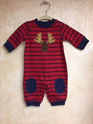 NWT Gymboree Boys Holidays Christmas Moose One Piece Outfit Red Sz 0-3 Mos