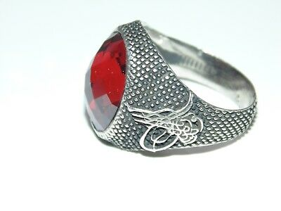 VTG Mens Signet Sterling Silver Ottoman Empire Sultan Seal Red Tughra Ring 10.25