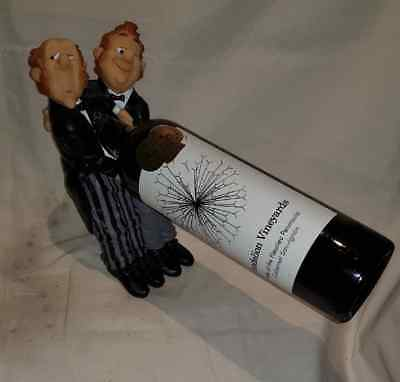 Two Dapper Chaps -Tabletop Wine Bottle Holder- Resin Home Decor