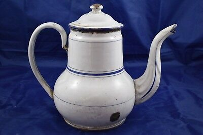Ancienne Cafetiere Bombee En Tole Emaillee Bec Decor Embouti Filet Bleu 1910