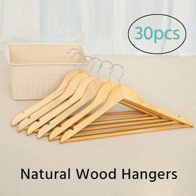 60Pcs Wooden Clothes Hangers Coat Pants Suit hangers Rack Wardrobe Wood Bulk