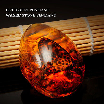 1.6x0.8x2'' Resin Amber Butterfly Insect Stone Beautiful Pendant Necklace US