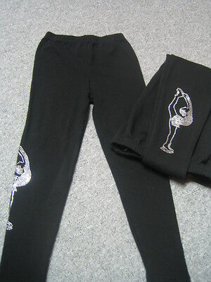 ANGEBOT Trainingshose Leggings mit Strass warm Gr. 134/140  (Kürkleid)