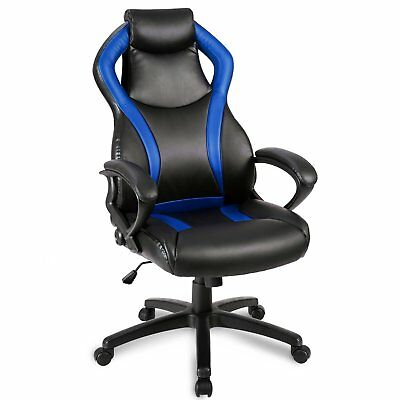 Merax Racing Style Leather Gaming Chair Office Desk Chair Pu Leather Swivel Blue