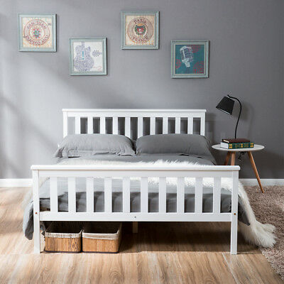 SALE! Double Bed White Wooden Frame White 4'6 196x143cm LIFE CARVER