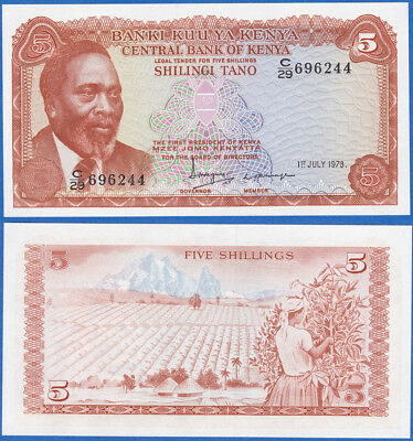 Kenya 5 shilling 1978 P-15 Sign.5 UNC US-Seller