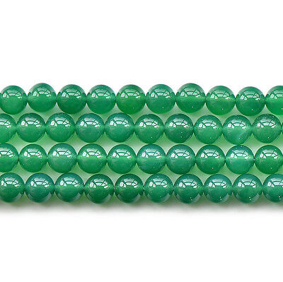 """Natural Green Agate Gemstone Round Spacer Loose Beads 15"""" 6mm 8mm 10mm 12mm"""