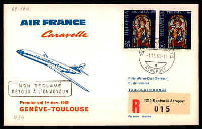 FRANCE FIRST FLIGHT AIR FRANCE 1969 GENEVE - TOULOUSE dg89