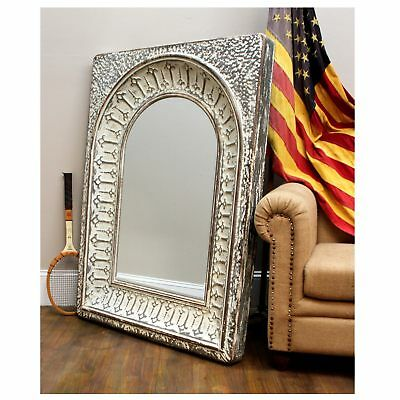 Galvanized Stamped Pressed Metal Tin Mirror in Antique Aged Finish 48inch Tall
