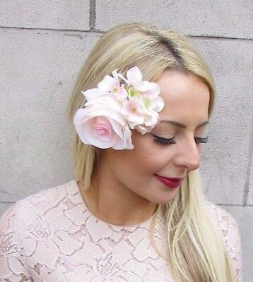Blush Light Pink Rose Hydrangea Flower Hair Clip Fascinator Bridesmaid Vtg 4599