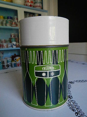 Vintage Thermos Green Black Cream Metal Litho Glass Insert 1971 King Seeley