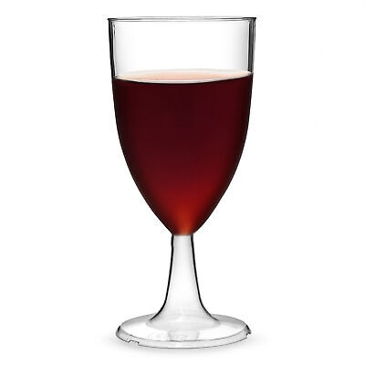 Disposable Plastic Tulip Wine Glasses 215ml CE Lined at 125ml & 175ml - Set of 4