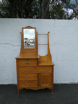 Early 1900s Solid Oak Wash Stand Vanity Dresser and Mirror 8601