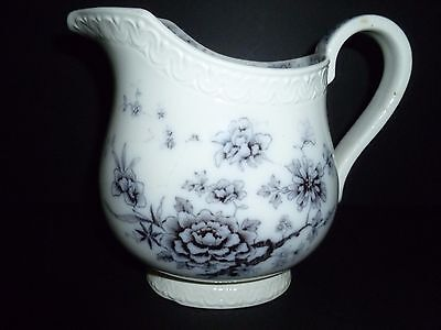 Antique Black Transferware Water Pitcher 3 Trees Gefle Made in Sweden TJarnsund