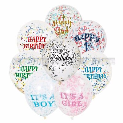 "6 Clear Confetti Filled 12"" Balloons Girl Boy Birthday Party Wedding Decorations"