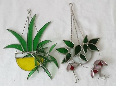 3D Vtg Stained Glass Window Suncatcher Ornaments`Hanging Flower Pots`Flowers