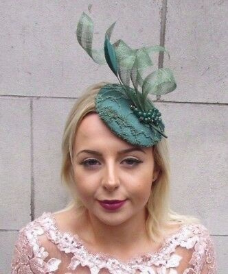 Forest Emerald Green Feather Fascinator Hat Hair Clip Pillbox Races Formal 4605