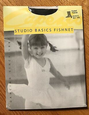 NEW Capezio Black Seamless Footed Fishnet Tights  Child. One size fits all