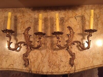 Rococo style pair of wired patina gold bronze wall sconces