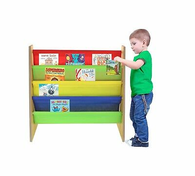 Children Kids Book Wooden Bookcase Rack Storage Book-Shelf Primary Colours