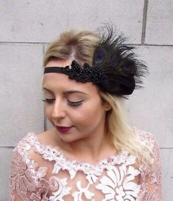Black Feather Bead Headpiece 1920s Headband Flapper Fascinator Great Gatsby 4611