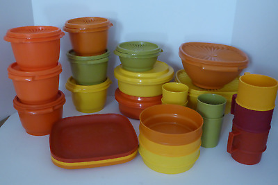 Lot of 35 Pieces of Assorted Vintage Tupperware  Servalier Harvest Plates  Bowls