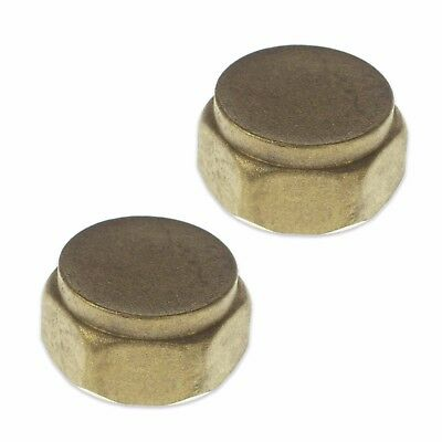 "PACK OF 2 x 1/2"" BSP BRASS BLANKING CAPS BLANK OFF TUBING PIPES TAPS GAS WATER"