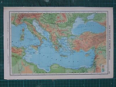 1952 Large Map ~ South-East Europe Italy Bulgaria Greece Mediterranean Sea