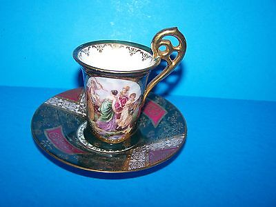 Vintage   Decorative Mini Tea Cup Set Royal Dianna  Lots Of Detail W/ Gold Color