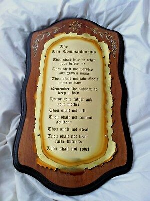"Vintage Ten Commandments Plaque Brass on Wood Beautiful Condition 18 1/2"" Tall"