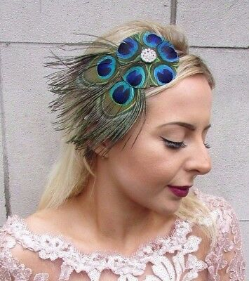 Silver Blue Green Peacock Feather Fascinator Headband Headpiece Races 1920s 4622