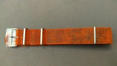 ZULUDIVER,NATO style,distressed Leather ,Watch Strap 22mm NEW, Brown,by geckota