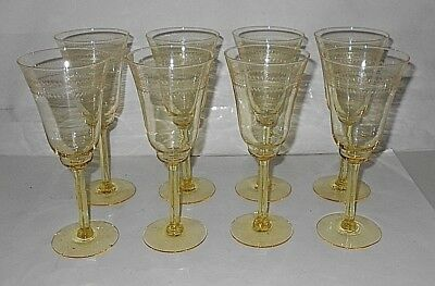 Antique etched crystal yellow Stemware Champagne glasses set of 8-Elegant !