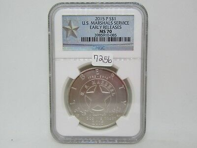 2015-P US Marshals Service Silver Dollar Coin - NGC Early Releases - MS70