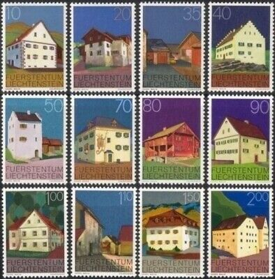 Liechtenstein 1978 Buildings Architecture Conservation Heritage 12v set MNH